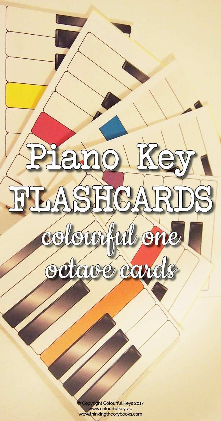Piano key flashcards for beginning piano students
