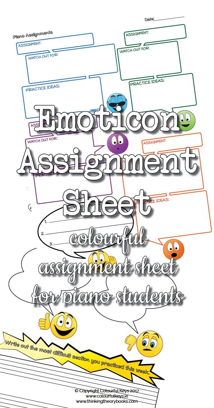 Emoticon piano assignment sheet
