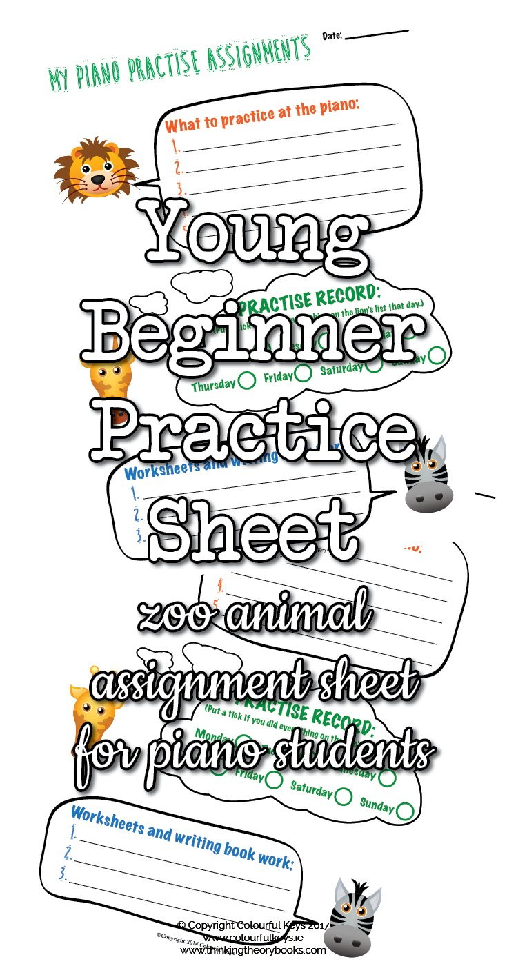 Young beginner piano student assignment sheet2