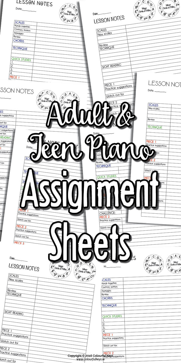 Piano assignment sheets for adults and teenagers.