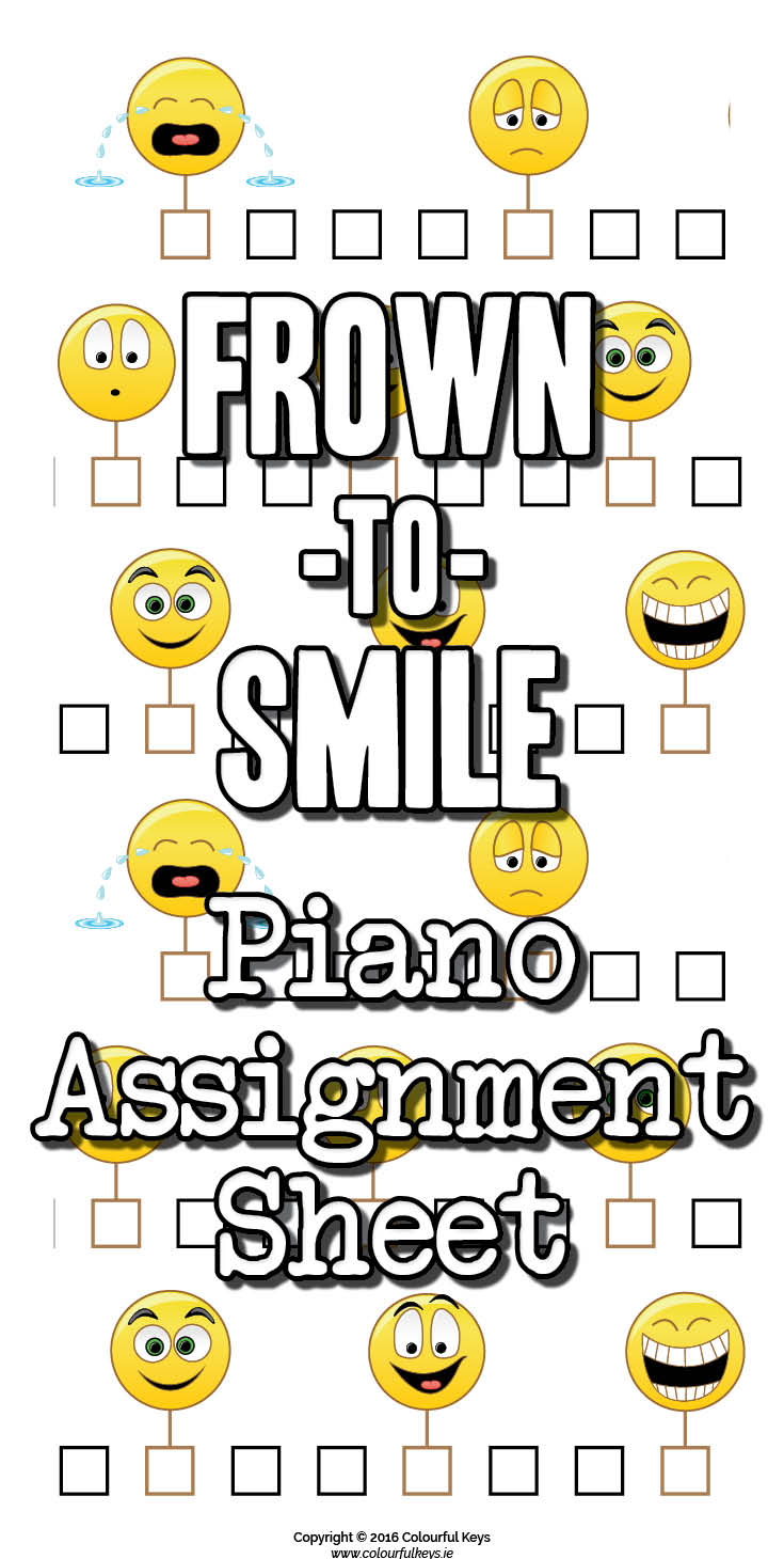 Emoticon piano practice assignment sheets