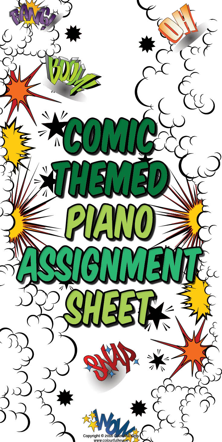 Comic themed piano assignment sheet