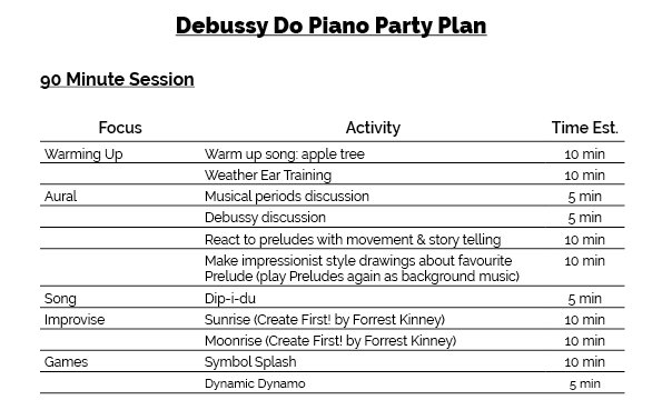 debussy do piano party workshop plan