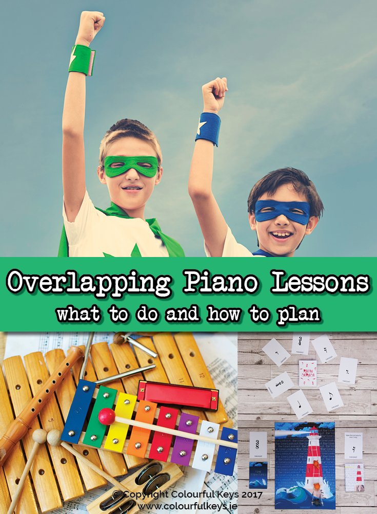 Great activities and ideas for partner, buddy, or overlapping piano lessons!